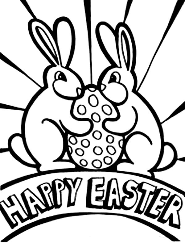 Happy Easter Greeting Card Coloring Page