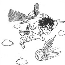 Harry Potter Catching Snitch Coloring Page