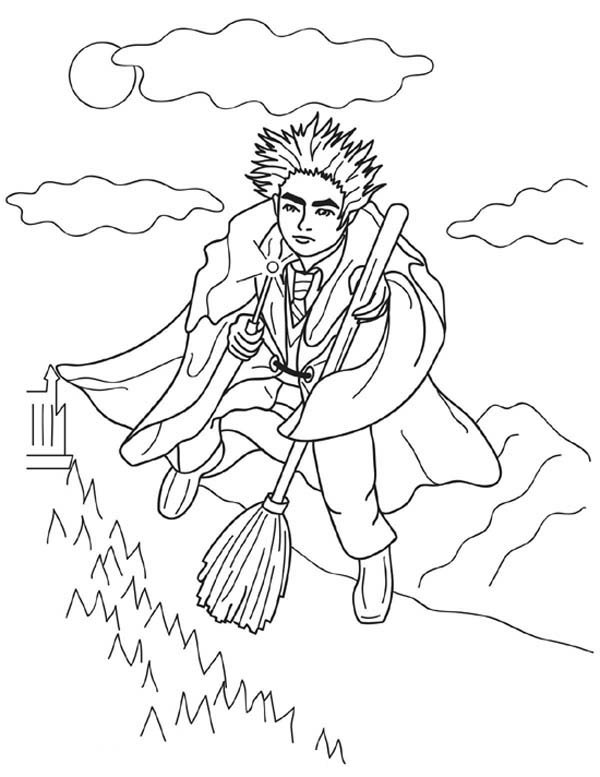 Harry Potter Flying with Nimbus 2000 Coloring Page