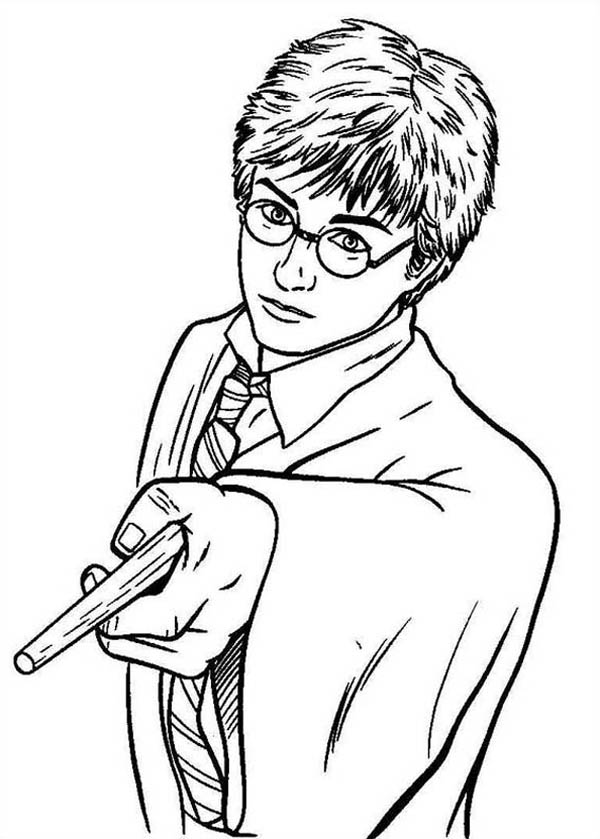 Harry Potter Pointing His Magic Wand Coloring Page