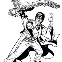 Harry Potter Send a Letter Using Hedwig Coloring Page