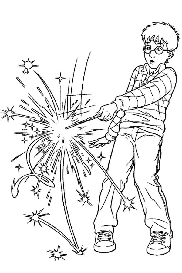 harry potter spell wrong magic word coloring page - Harry Potter Coloring Pages
