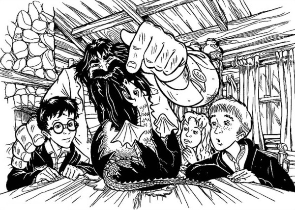 Harry Potter and Friends Saw Hagrid Baby Dragon Coloring Page - NetArt