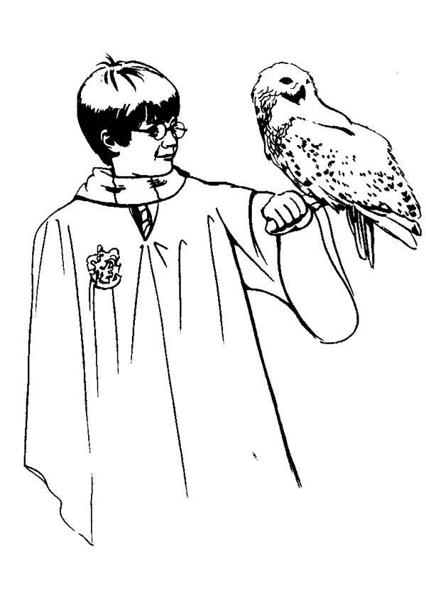 Harry Potter and Her Owl Hedwig Coloring Page