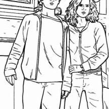 Harry Potter and Hermione Granger Coloring Page