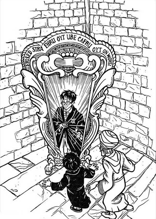 Harry Potter and Mirror of Erised Coloring Page