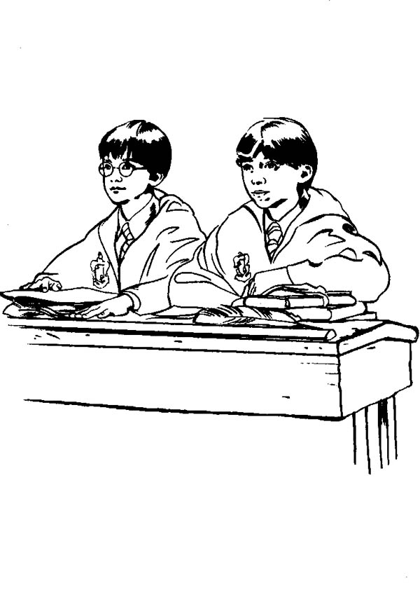 Harry Potter and Ron Weasley in the Class Coloring Page