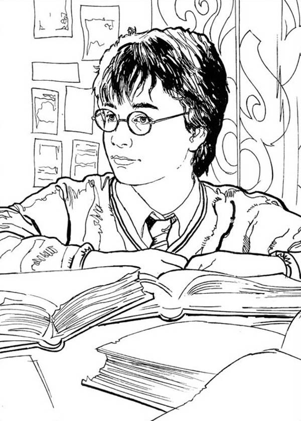 Harry Potter in Library Coloring Page NetArt