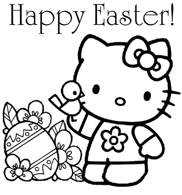 Hello Kitty Happy Easter Coloring Page - NetArt