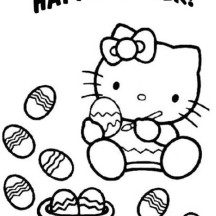 hello kitty paint a lot of easter eggs coloring page - Kitty Easter Coloring Pages