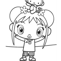 Hoho Sit on Kai Lans Head in Ni Hao Kai Lan Coloring Page