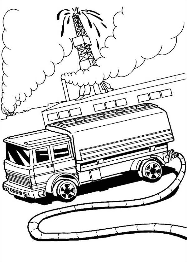 Hot Wheels Fire Fighter at Oil Field Coloring Page - NetArt