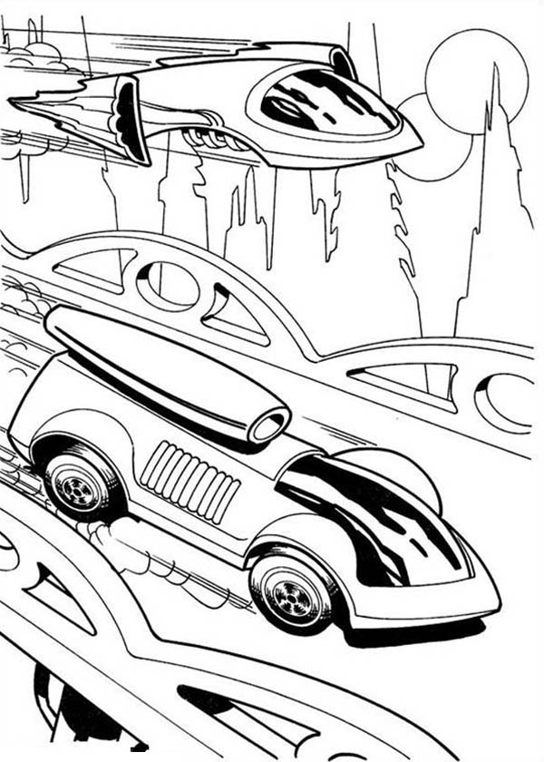Hot Wheels Futuristic Design Car Race Jet Plane Coloring