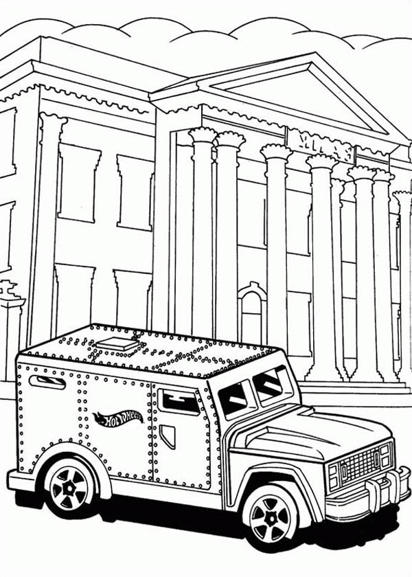 Hot Wheels Steel Car for Bank Coloring Page
