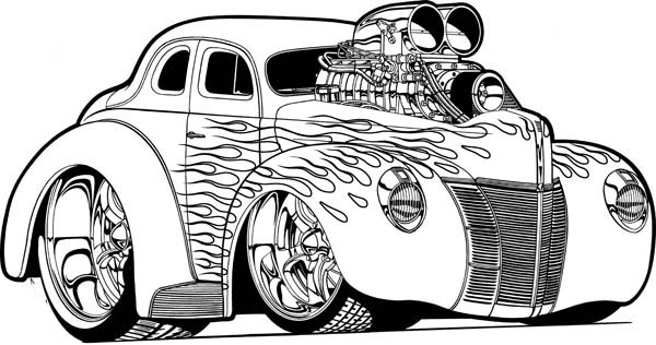 Hot Wheels Super Car with NOS Coloring Page NetArt