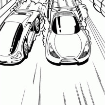 Hot Wheels Tight Race Between Two Cars Coloring Page