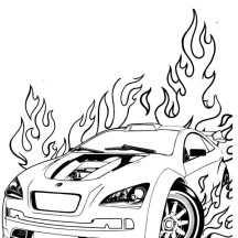 Hot Wheels is on Fire Coloring Page