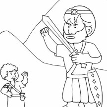 How to Draw David versus Goliath in the Bible Heroes Story Coloring Page