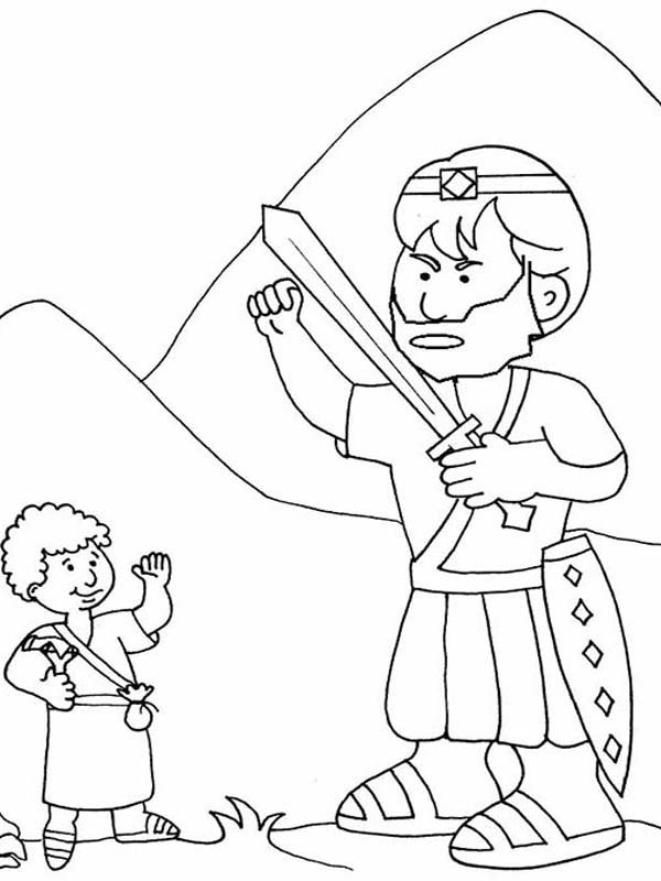 How to Draw David versus Goliath in the Bible Heroes Story Coloring