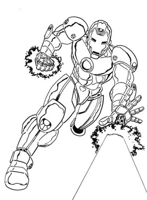 Iron Man Deathly Palm Strike Coloring Page