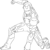 Iron Man Fighting Pose Coloring Page