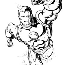 Iron Man Strong Punch Coloring Page