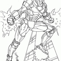 Iron Man is Floating in the Sky Coloring Page