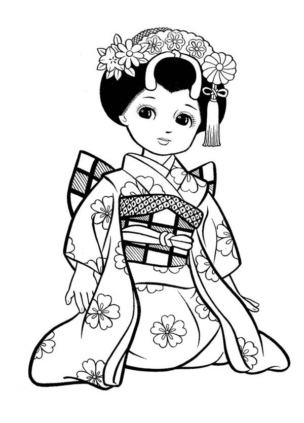 japanese girl geisha coloring page - Japanese Coloring Books