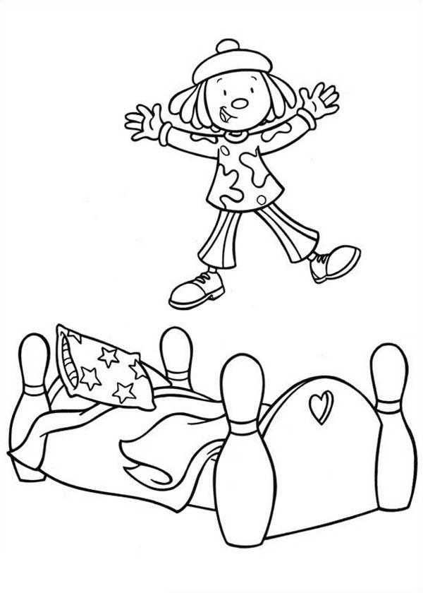Jojo Jumping at Bed in Jojo's Circus Coloring Page