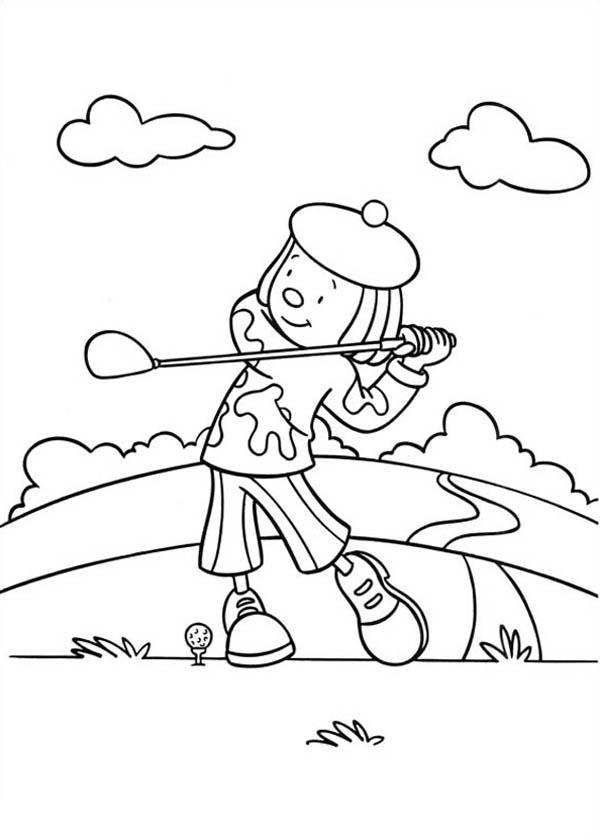 Jojo Playing Golf in Jojo's Circus Coloring Page