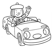 Jojo Ride a Car Around the Circus Town in Jojo's Circus Coloring Page