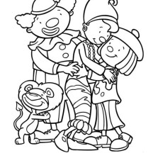 Jojo and Friends Hugging in Jojo's Circus Coloring Page