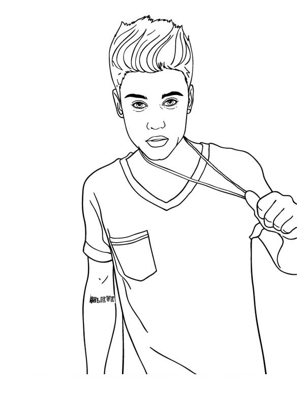 Justin Bieber Coloring Page for Kids