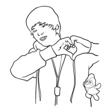 Justin Bieber Love Gesture Coloring Page