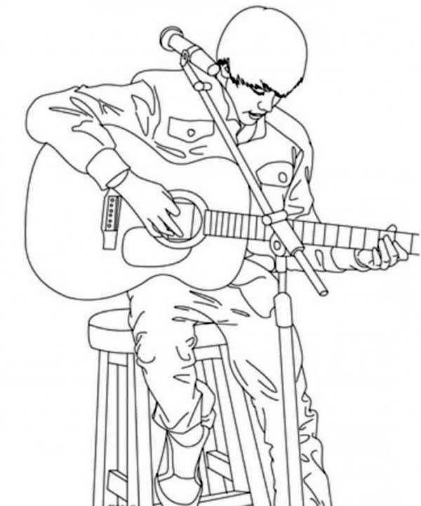 Justin Bieber Playing Guitar Coloring Page Netart Justin Bieber Coloring Pages