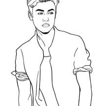 Justin Bieber Posing Coloring Page