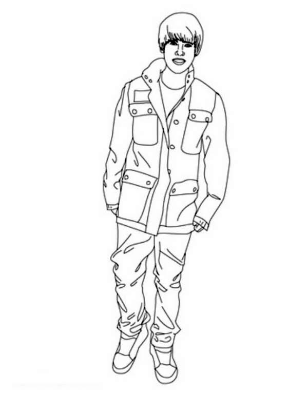 Justin Bieber Stand Up Coloring Page NetArt