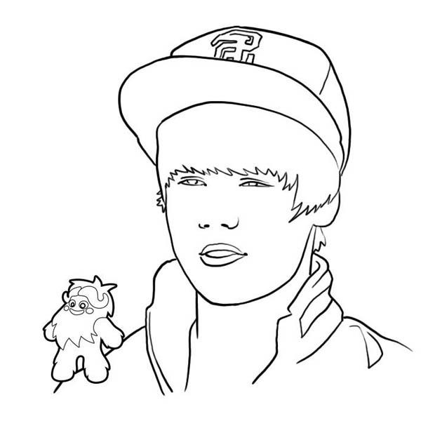 Justin Bieber Wearing Hat Coloring Page Netart