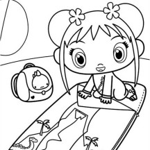 Kai Lan Folding Her Bed Coloring Page