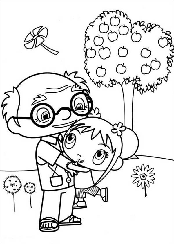 Kai Lan Love Her Grandpa Very Much in Ni Hao Kai Lan Coloring Page