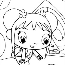 Kai Lan Saw a Dinosaurus Sandals in Ni Hao Kai Lan Coloring Page