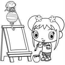 Kai Lan Want to Painting in Ni Hao Kai Lan Coloring Page