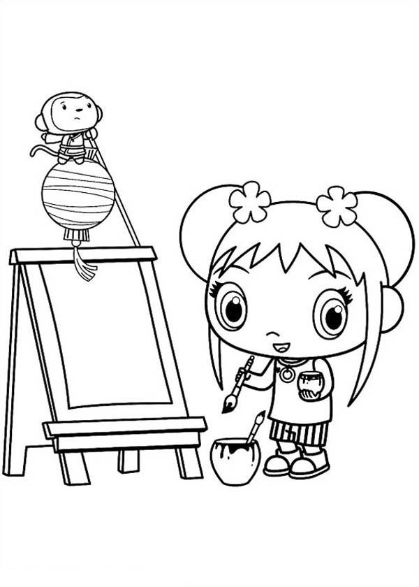 Kai Lan Want to Painting in Ni Hao Kai Lan Coloring Page