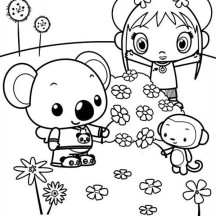 Kai Lan and Friends Picking Flowers Coloring Page