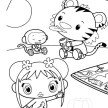 Kai Lan and Friends Play with Flashlight Coloring Page