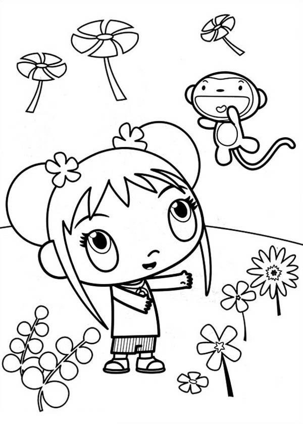Kai Lan and Hoho Look so Excited in Ni Hao Kai Lan Coloring Page