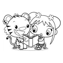 Kai Lan and Rintoo Read a Book Together Coloring Page