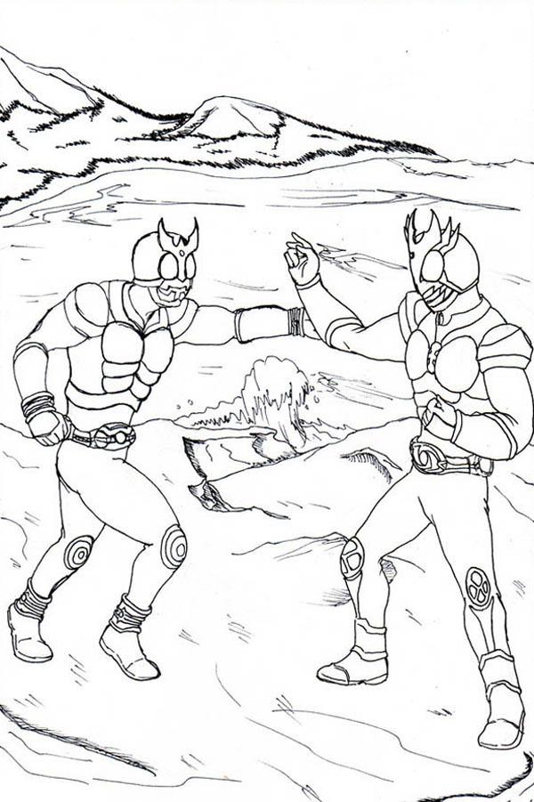 Kamen Rider Kuuga and Agito Coloring Page