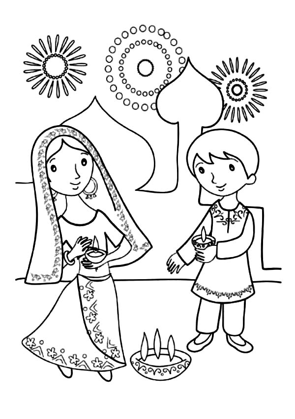 Kids Celebrate Diwali Coloring Page NetArt
