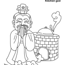 Kitchen God in Chinese Symbols Coloring Page